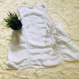 Made In Italy Linen Tank White Embroidered Swingy